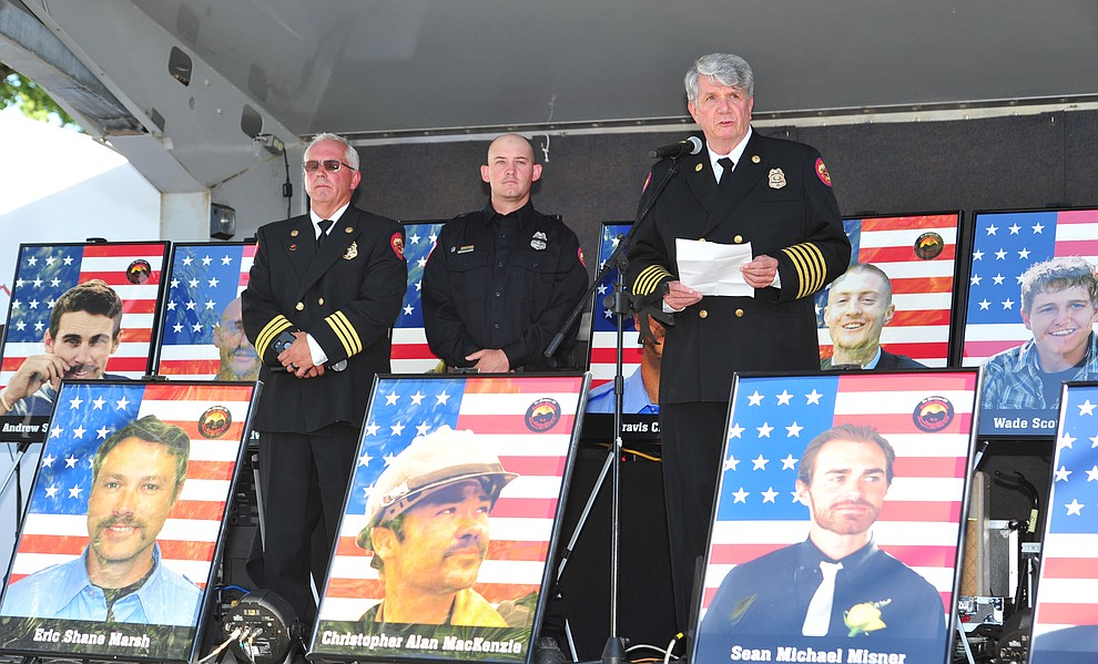 Prescott Fire Chief Dennis Light makes comments during a Remembrance Ceremony for the 19 Granite Mountain Hotshots Saturday, June 30, 2018.(Les Stukenberg/Courier)