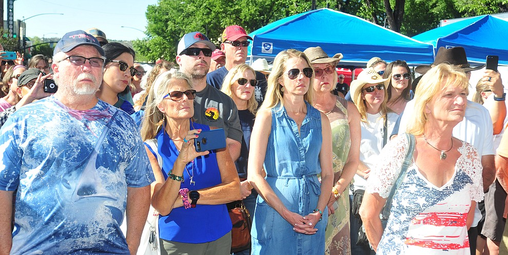 People get emotional and reflective during a Remembrance Ceremony for the 19 Granite Mountain Hotshots Saturday, June 30, 2018.(Les Stukenberg/Courier)