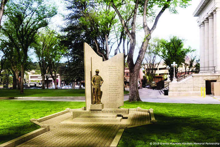 The Granite Mountain Hotshots Memorial Partnership has released an artist's rendering of the memorial that is planned for the Yavapai County Courthouse Plaza to honor the 19 Granite Mountain Hotshots who died fighting the June 2013 Yarnell Hill Fire. From the front, the memorial features a bronze Hotshot statue alongside the names of the fallen. And from the back, the sculpture's granite slabs will feature an etching of the giant alligator juniper that the Hotshots saved during the Doce Fire just days before they died in the Yarnell Hill Fire. (Courtesy)