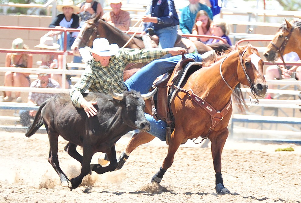 Coltin Hill has a 6.8 second run in the steer wrestling during third performance of the Prescott Frontier Days Rodeo Saturday, June 30, 2018.(Les Stukenberg/Courier)