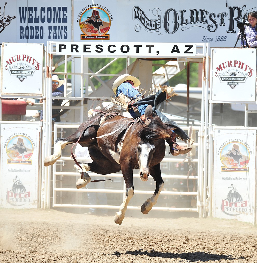 Taylor Broussard scores 81 on Sweetwater in the bareback during the third performance of the Prescott Frontier Days Rodeo Saturday, June 30, 2018.(Les Stukenberg/Courier)
