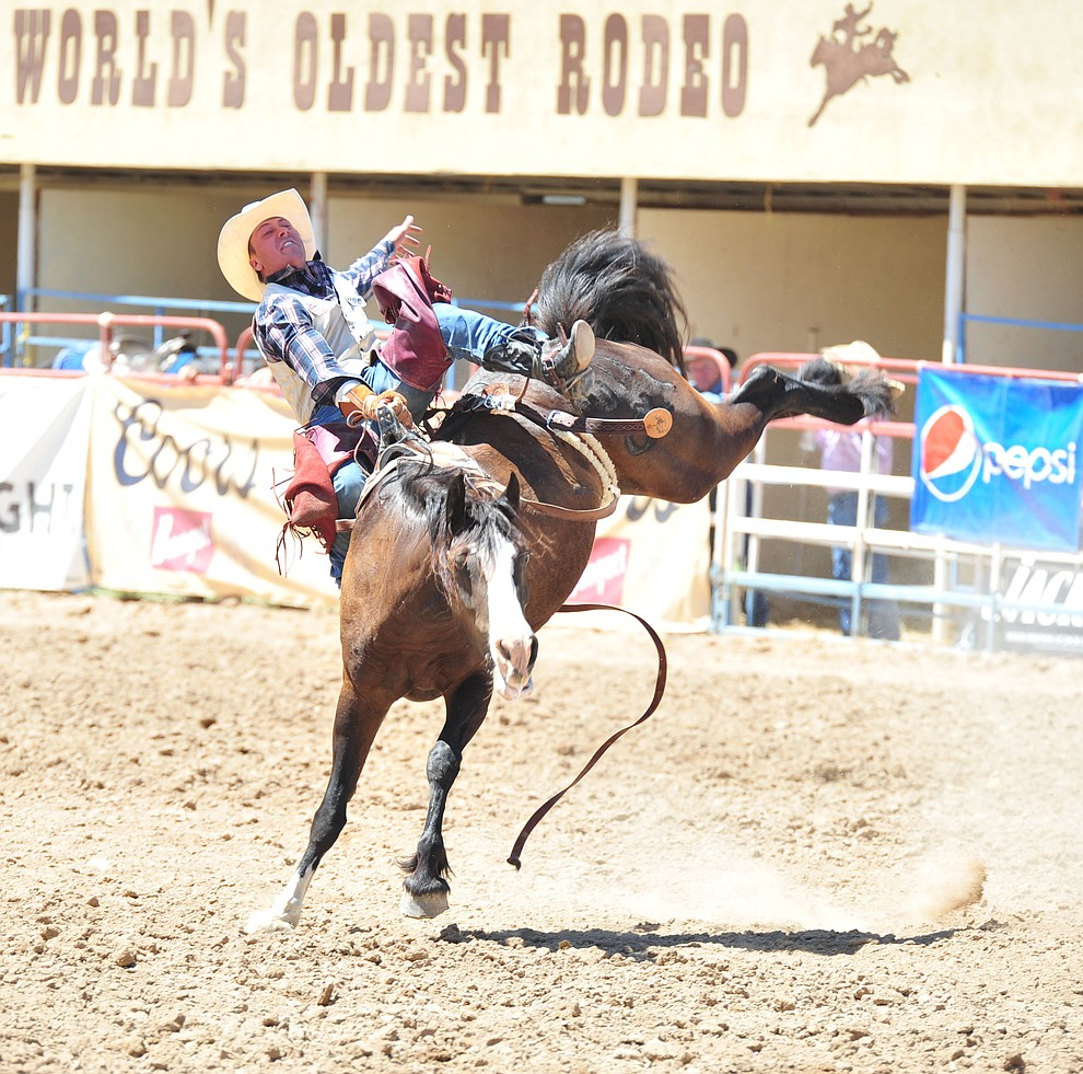 Nate McFadden on Butterfly in the bareback during the third performance of the Prescott Frontier Days Rodeo Saturday, June 30, 2018.(Les Stukenberg/Courier)