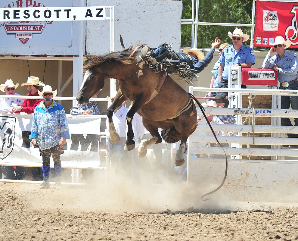 Wyatt Denny scores 76.5 on 239 in the bareback during the third performance of the Prescott Frontier Days Rodeo Saturday, June 30, 2018.(Les Stukenberg/Courier)