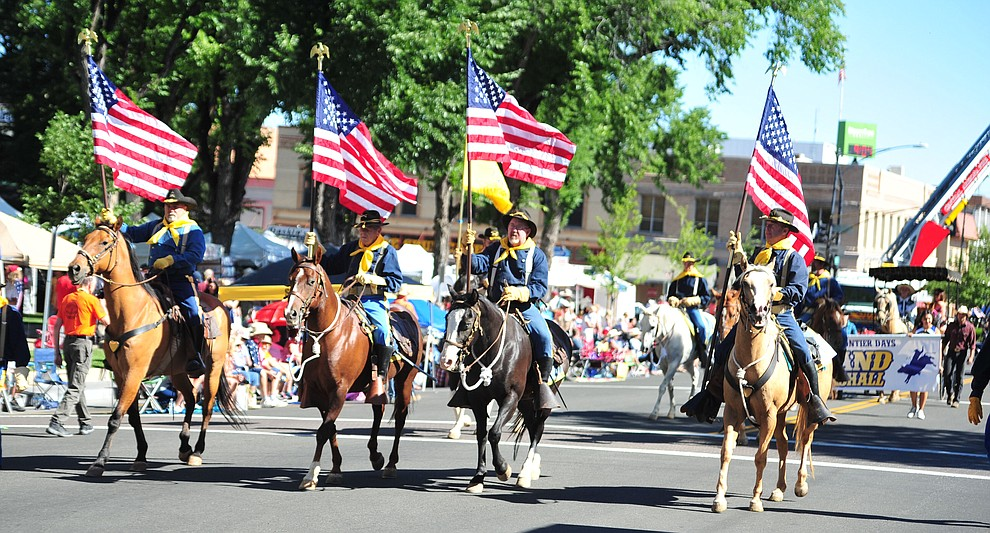 The Verde Valley Cavalry during the annual Prescott Frontier Days Parade through the downtown Prescott area Saturday, June 30, 2018.(Les Stukenberg/Courier)