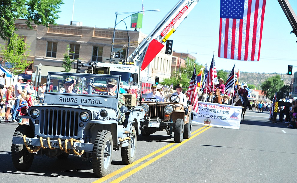 Korean War veterans during the annual Prescott Frontier Days Parade through the downtown Prescott area Saturday, June 30, 2018.(Les Stukenberg/Courier)