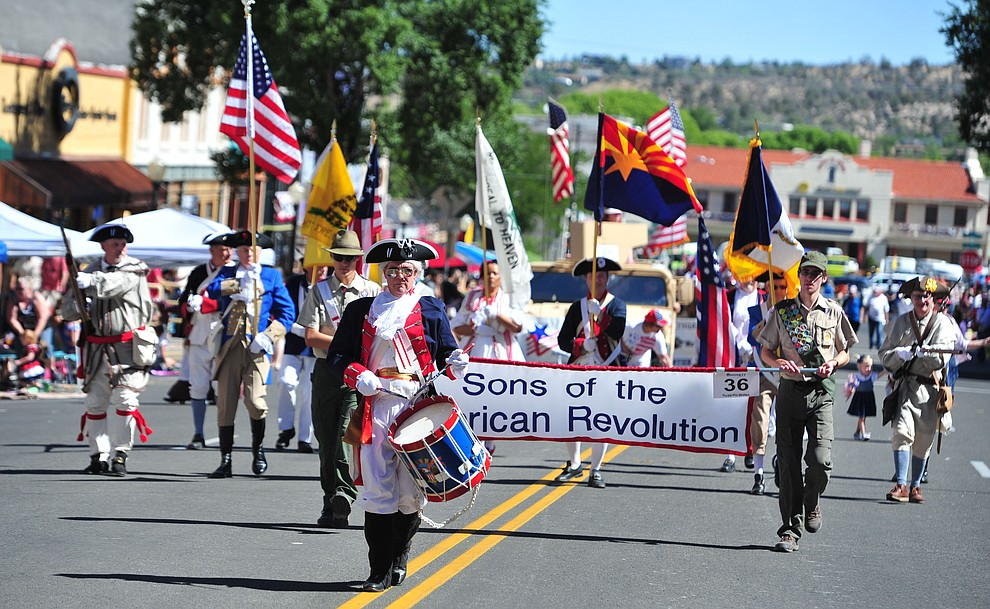 Sons of the American Revolution during the annual Prescott Frontier Days Parade through the downtown Prescott area Saturday, June 30, 2018.(Les Stukenberg/Courier)