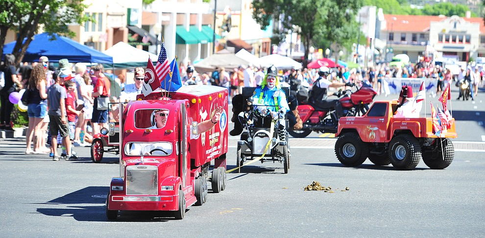 Shriners brought their mini vehicles to the annual Prescott Frontier Days Parade through the downtown Prescott area Saturday, June 30, 2018.(Les Stukenberg/Courier)