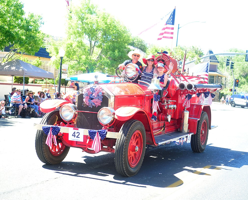 Prescott Engine 1 during the annual Prescott Frontier Days Parade through the downtown Prescott area Saturday, June 30, 2018.(Les Stukenberg/Courier)