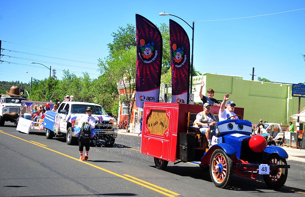APS brought the large bubble machine to the annual Prescott Frontier Days Parade through the downtown Prescott area Saturday, June 30, 2018.(Les Stukenberg/Courier)