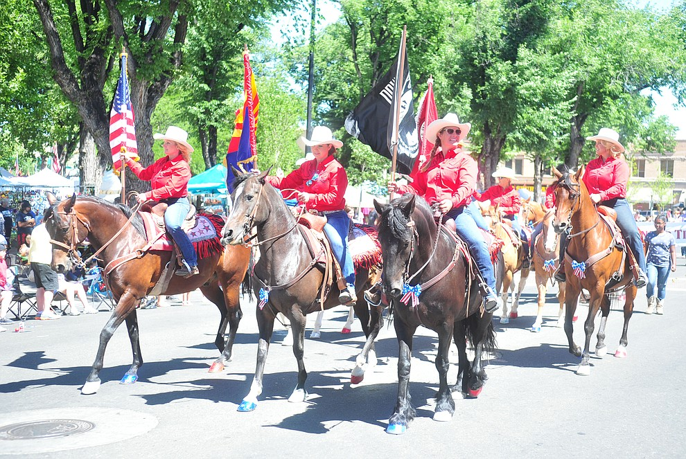 Scottsdale Saddle Club during the annual Prescott Frontier Days Parade through the downtown Prescott area Saturday, June 30, 2018.(Les Stukenberg/Courier)