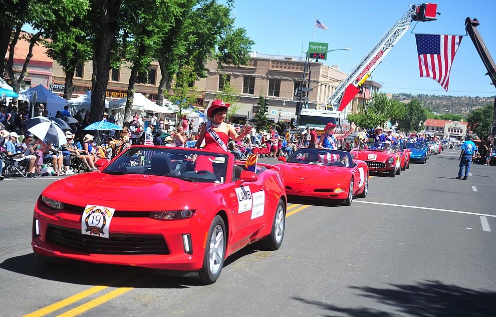 Ms. Senior Arizona's were atop Corvettes during the annual Prescott Frontier Days Parade through the downtown Prescott area Saturday, June 30, 2018.(Les Stukenberg/Courier)