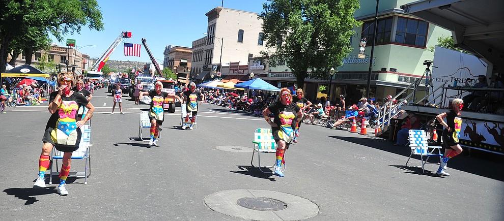 Prescott Ladies Kazoo and Lawnchair Auxillary perform during the annual Prescott Frontier Days Parade through the downtown Prescott area Saturday, June 30, 2018.(Les Stukenberg/Courier)