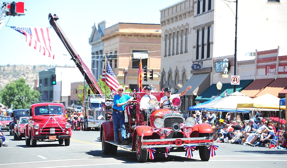 Prescott Antique Auto Club during the annual Prescott Frontier Days Parade through the downtown Prescott area Saturday, June 30, 2018.(Les Stukenberg/Courier)