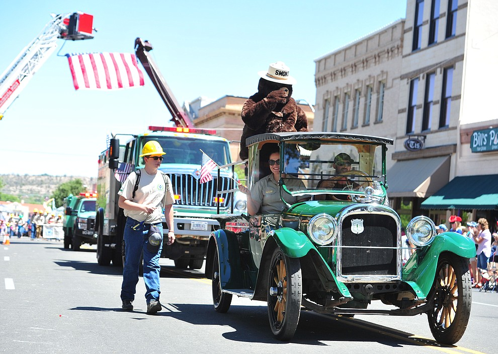 Prescott National Forest brought Smokey Bear and lots of equipment to the annual Prescott Frontier Days Parade through the downtown Prescott area Saturday, June 30, 2018.(Les Stukenberg/Courier)