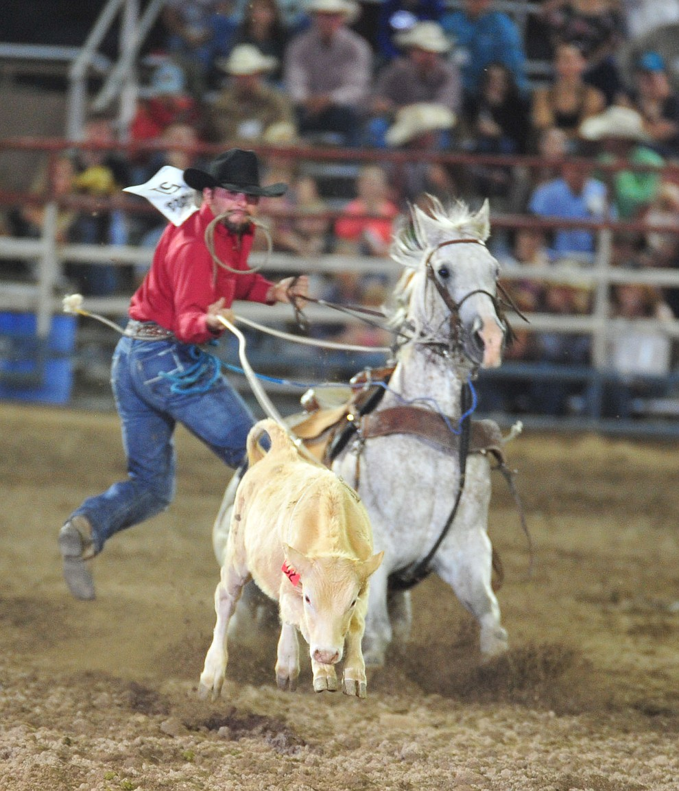 Edwin Boltares has a 12.7 in the tie down roping during the 5th performance of the Prescott Frontier Days Rodeo Sunday, July 1, 2018. (Les Stukenberg/Courier)