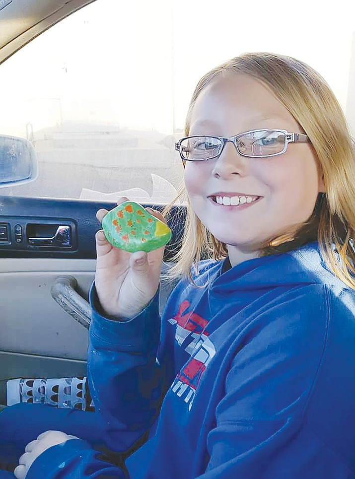 Amanda Moore, 10, painted a rock that traveled to Costa Rica and Buenos Aires, Argentina. Moore is an avid rock painter from Cordes Lakes. (Julie Brostrom-Pope/Courtesy images)