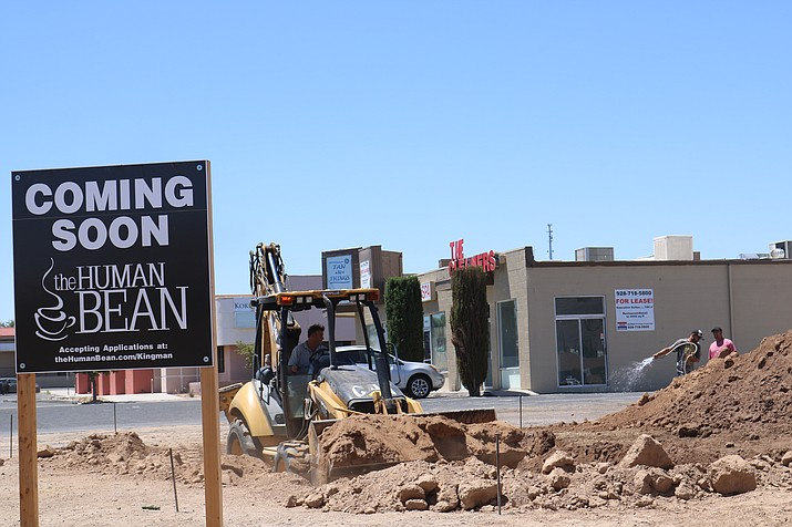 Casey Rodman and his team from Bullhead City's Case Concrete were at the future site of Kingman's first Human Bean coffee shop Monday morning prepping for concrete. (Travis Rains)