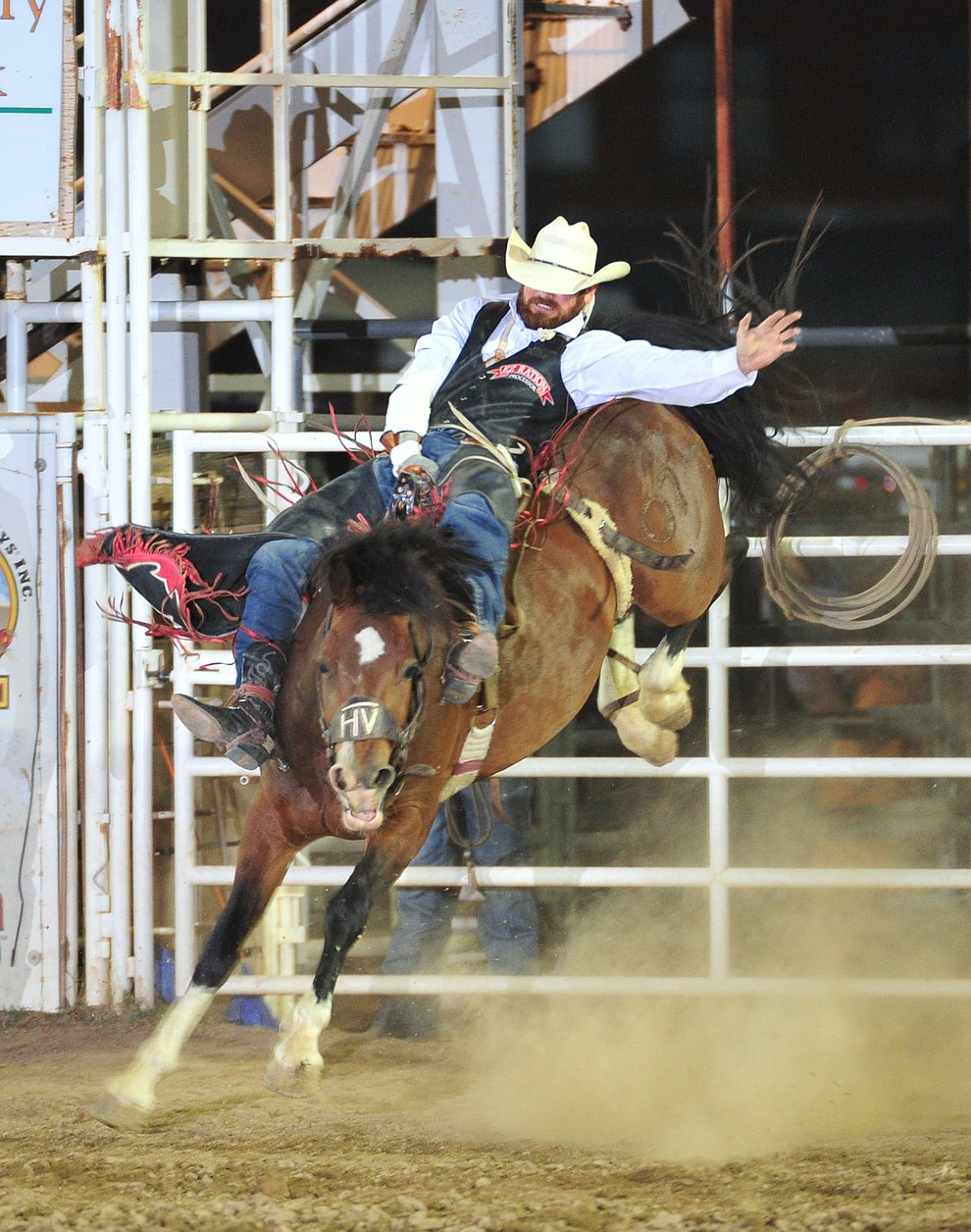 Logan Patterson scores 78 on Hot Valley in the bareback during the 5th performance of the Prescott Frontier Days Rodeo Sunday, July 1, 2018. (Les Stukenberg/Courier)