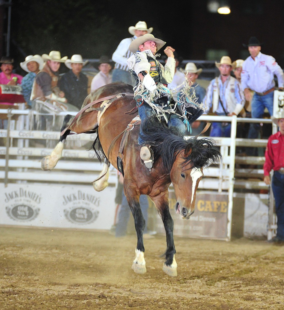 Austin Foss scores 83 on Wrangler Valley in the bareback during the 5th performance of the Prescott Frontier Days Rodeo Sunday, July 1, 2018. (Les Stukenberg/Courier)