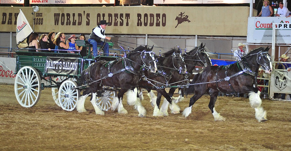The Diamond Z English Shire Horses during the 5th performance of the Prescott Frontier Days Rodeo Sunday, July 1, 2018. (Les Stukenberg/Courier)