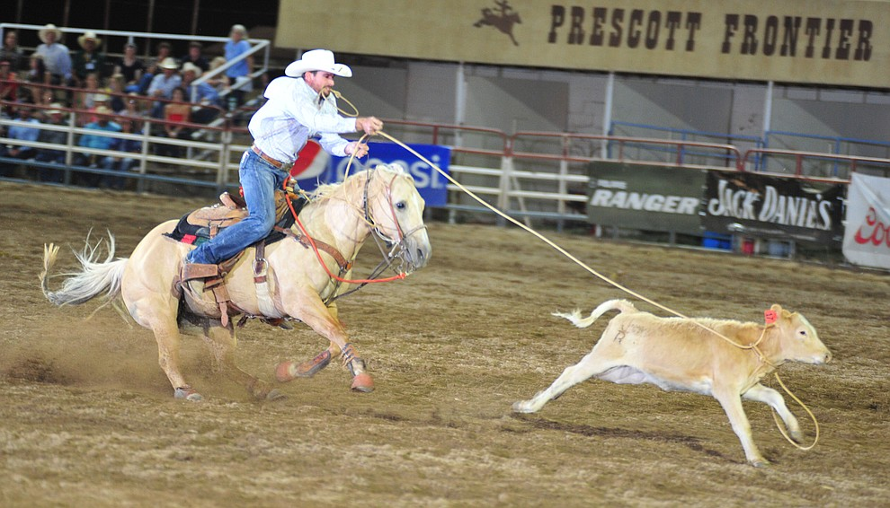 Clay Bonner has a 12.2 in the tie down roping during the 5th performance of the Prescott Frontier Days Rodeo Sunday, July 1, 2018. (Les Stukenberg/Courier)