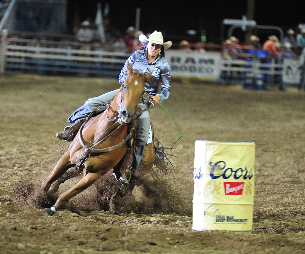 Prescott's Sarah Kieckhefer in the barrel race during the 5th performance of the Prescott Frontier Days Rodeo Sunday, July 1, 2018. (Les Stukenberg/Courier)