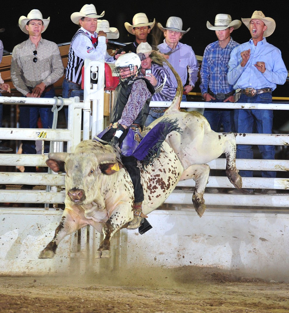 Dawson Stutting on Foolish Dreams in the bull riding during the 5th performance of the Prescott Frontier Days Rodeo Sunday, July 1, 2018. (Les Stukenberg/Courier)