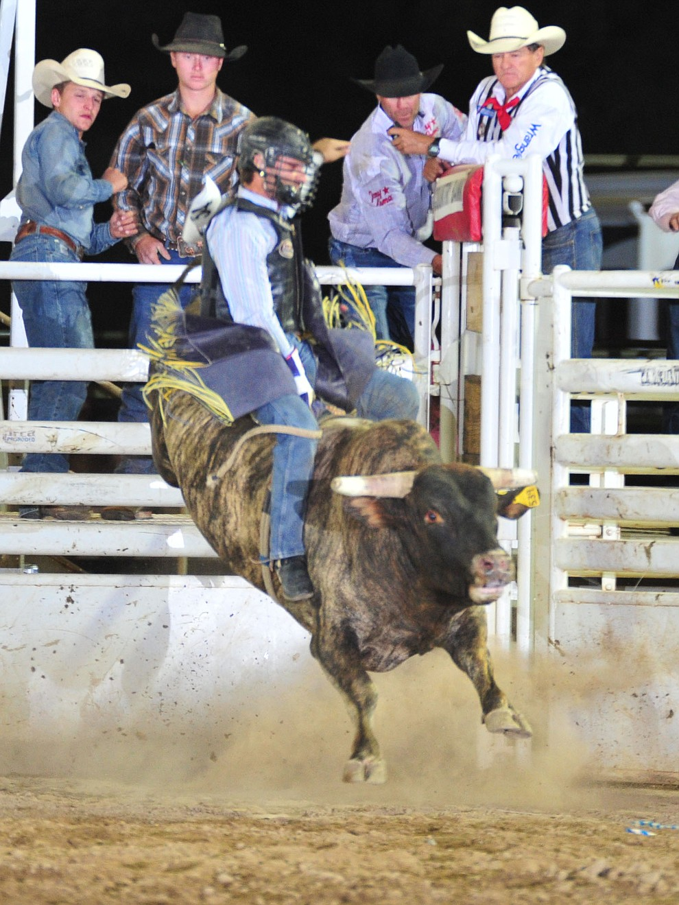 Dustin Bouquet on Corleone in the bull riding during the 5th performance of the Prescott Frontier Days Rodeo Sunday, July 1, 2018. (Les Stukenberg/Courier)