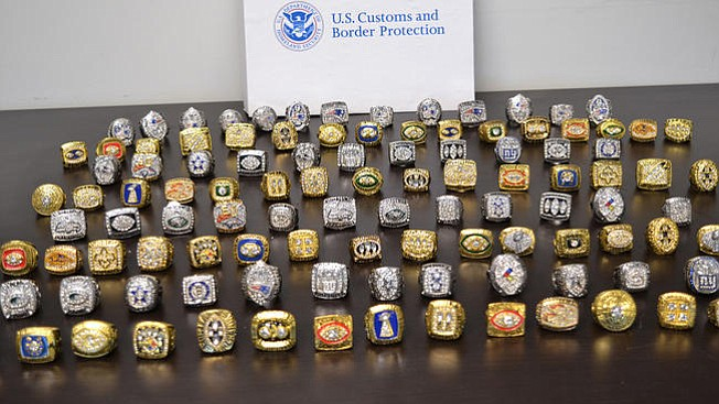 The rings represented many Super Bowl champions, including the Eagles, the U.S. Customs and Border Protection said. (U.S. Customs and Border Protection)