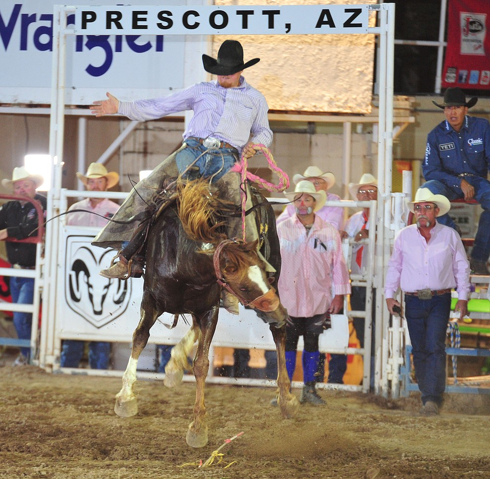 Zach Andrade on Wild Times in the cowpunchers bronc riding during the 6th performance of the Prescott Frontier Days Rodeo Monday, July 2, 2018. (Les Stukenberg/Courier)