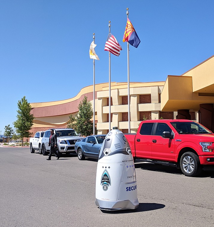 Twin Arrows Resort and Casino unveiled a security robot June 27.  The robot will be used for security in the parking area at the casino. It is the first security robot to be used in Arizona. (Twin Arrows Resort and Casino)
