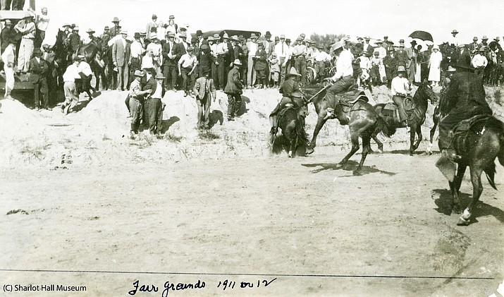 "The ""World's Oldest Rodeo"" at the Fair Grounds in 1911 and 1912. (Sharlot Hall/Courtesy)"