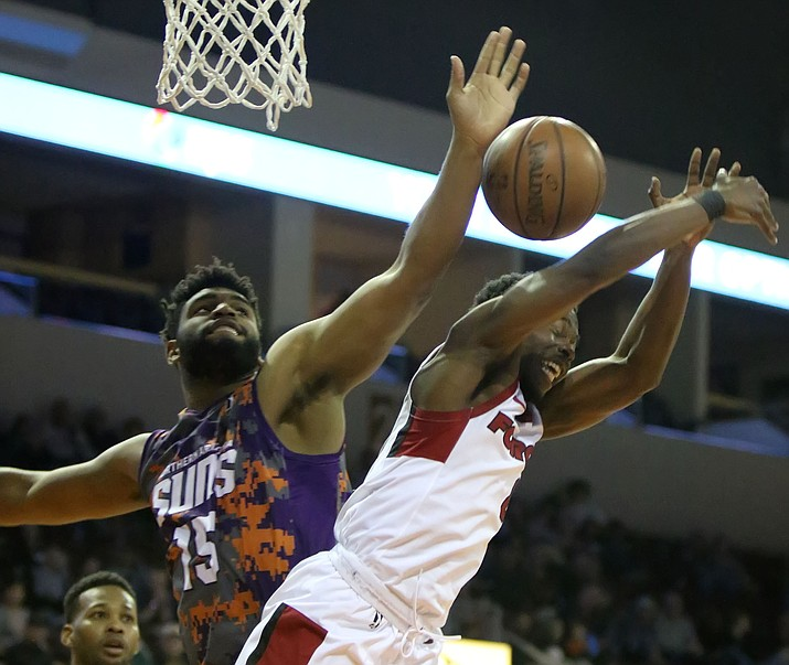 Alan Williams (15) blocks a shot in the Northern Arizona Suns' season finale March 24, 2018. Williams was cut by the Phoenix Suns on Monday, July 2, 2018. (Matt Hinshaw/NAZ Suns, File)