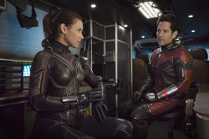 "This image released by Marvel Studios shows Evangeline Lilly, left, and Paul Rudd in a scene from ""Ant-Man and the Wasp."" (Disney/Marvel Studios via AP)"