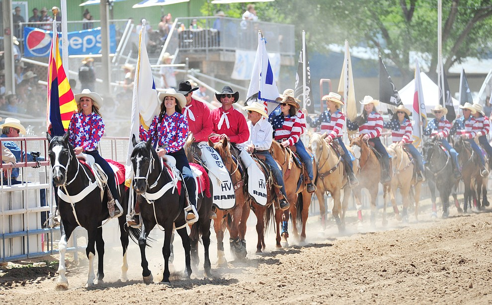 The Grand Entry during the final performance of the 2018 Prescott Frontier Days Rodeo Wednesday, July 4, 2018. (Les Stukenberg/Courier)
