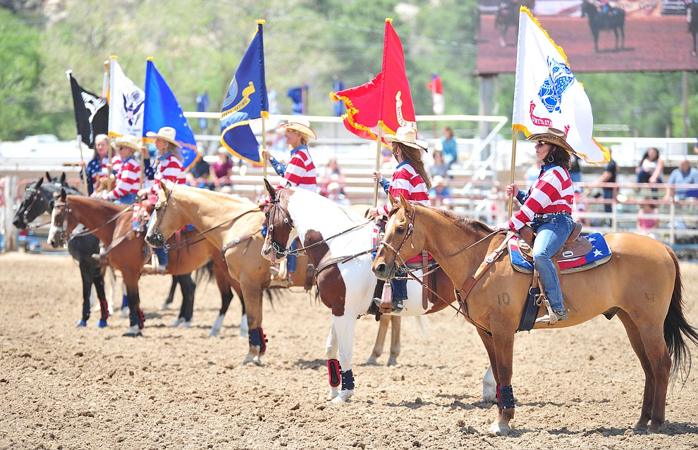 Honoring armed forces members and veterans during the final performance of the 2018 Prescott Frontier Days Rodeo Wednesday, July 4, 2018. (Les Stukenberg/Courier)