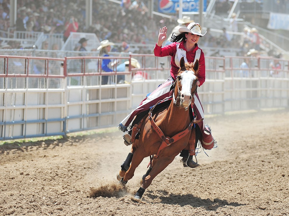 Prescott Frontier Days Queen Sarah Grant does a hot lap during the final performance of the 2018 Prescott Frontier Days Rodeo Wednesday, July 4, 2018. (Les Stukenberg/Courier)