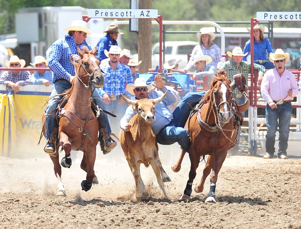 Tim Robertson in the steer wrestling during the final performance of the 2018 Prescott Frontier Days Rodeo Wednesday, July 4, 2018. (Les Stukenberg/Courier)