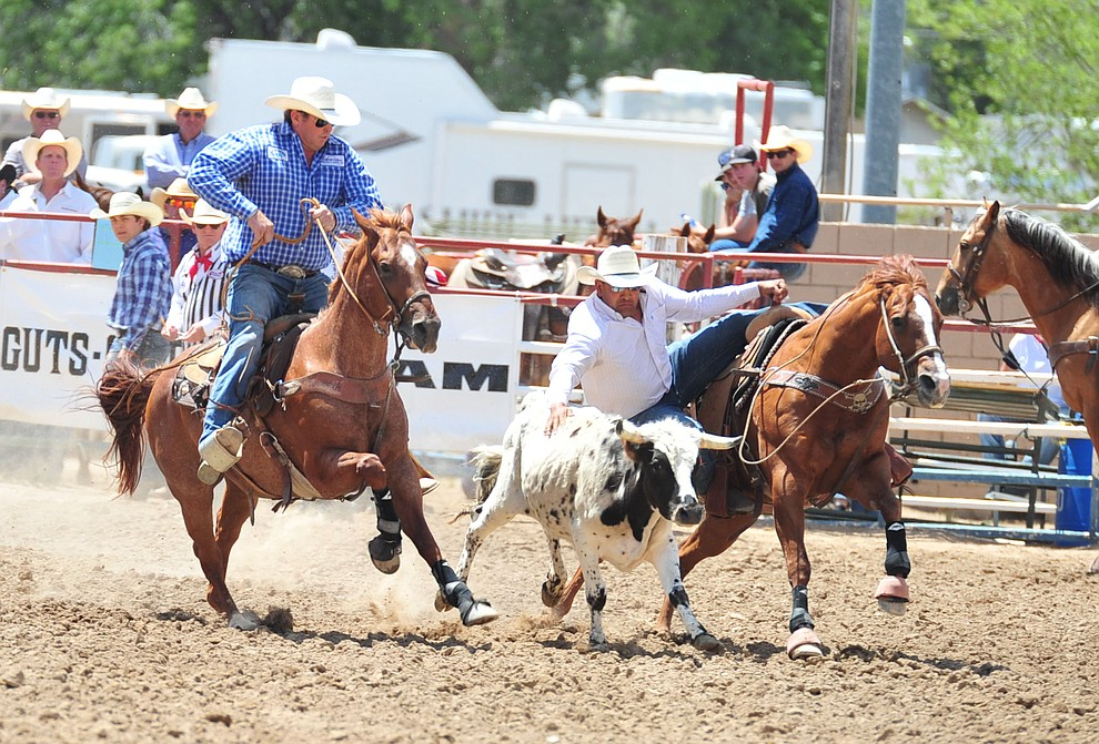 Damian Padilla in the steer wrestling during the final performance of the 2018 Prescott Frontier Days Rodeo Wednesday, July 4, 2018. (Les Stukenberg/Courier)