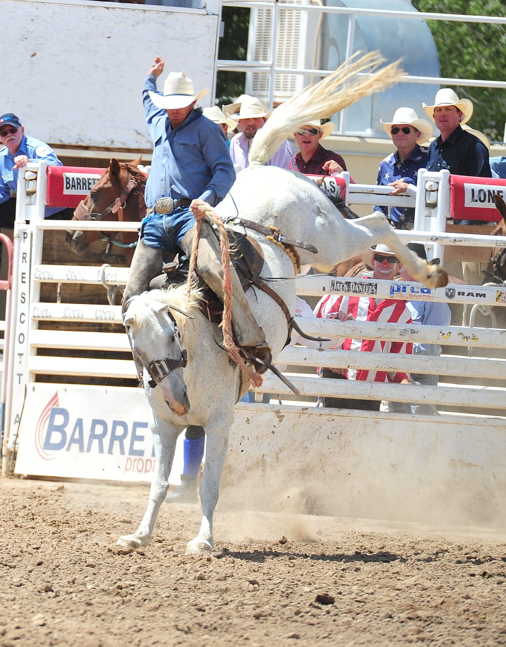 Zary May scores 78 on Feather Delight in the Cowpunchers Bronc Riding during the final performance of the 2018 Prescott Frontier Days Rodeo Wednesday, July 4, 2018. (Les Stukenberg/Courier)
