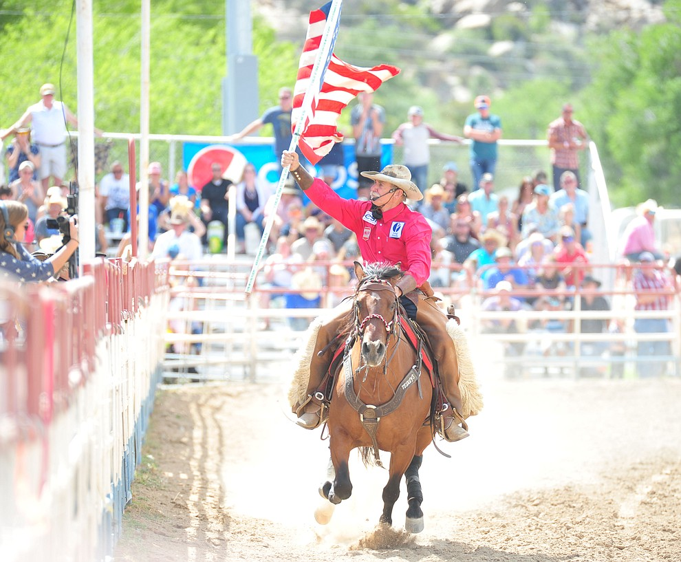 Bobby Kerr performs on Pancho, an American Mustang, during the final performance of the 2018 Prescott Frontier Days Rodeo Wednesday, July 4, 2018. (Les Stukenberg/Courier)
