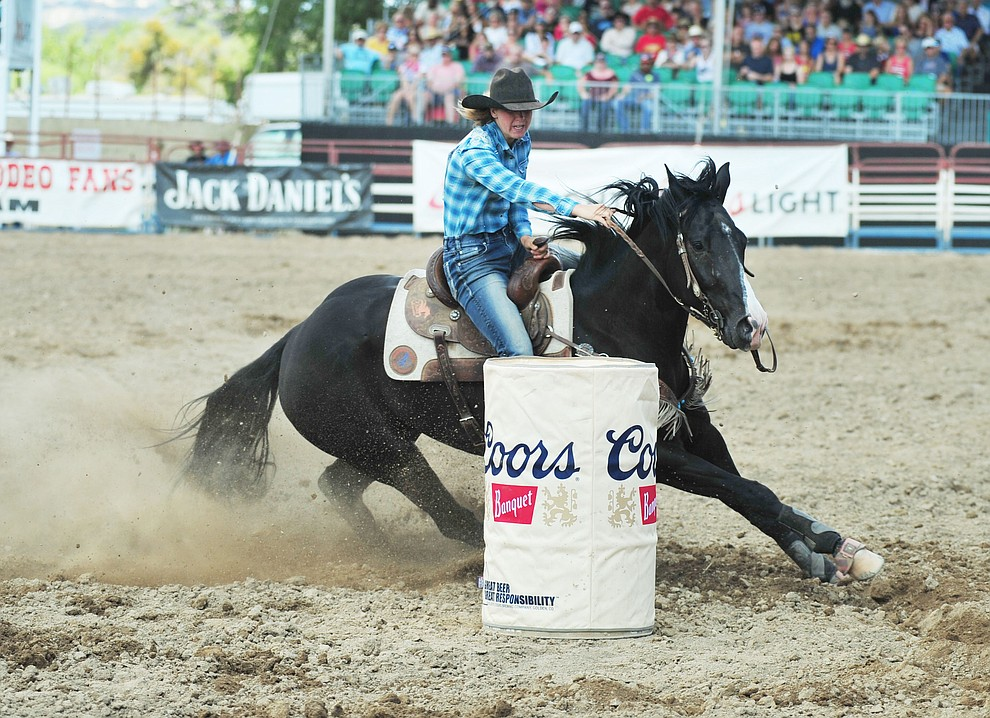 Cabrina Vickers in the barrel race during the final performance of the 2018 Prescott Frontier Days Rodeo Wednesday, July 4, 2018. (Les Stukenberg/Courier)