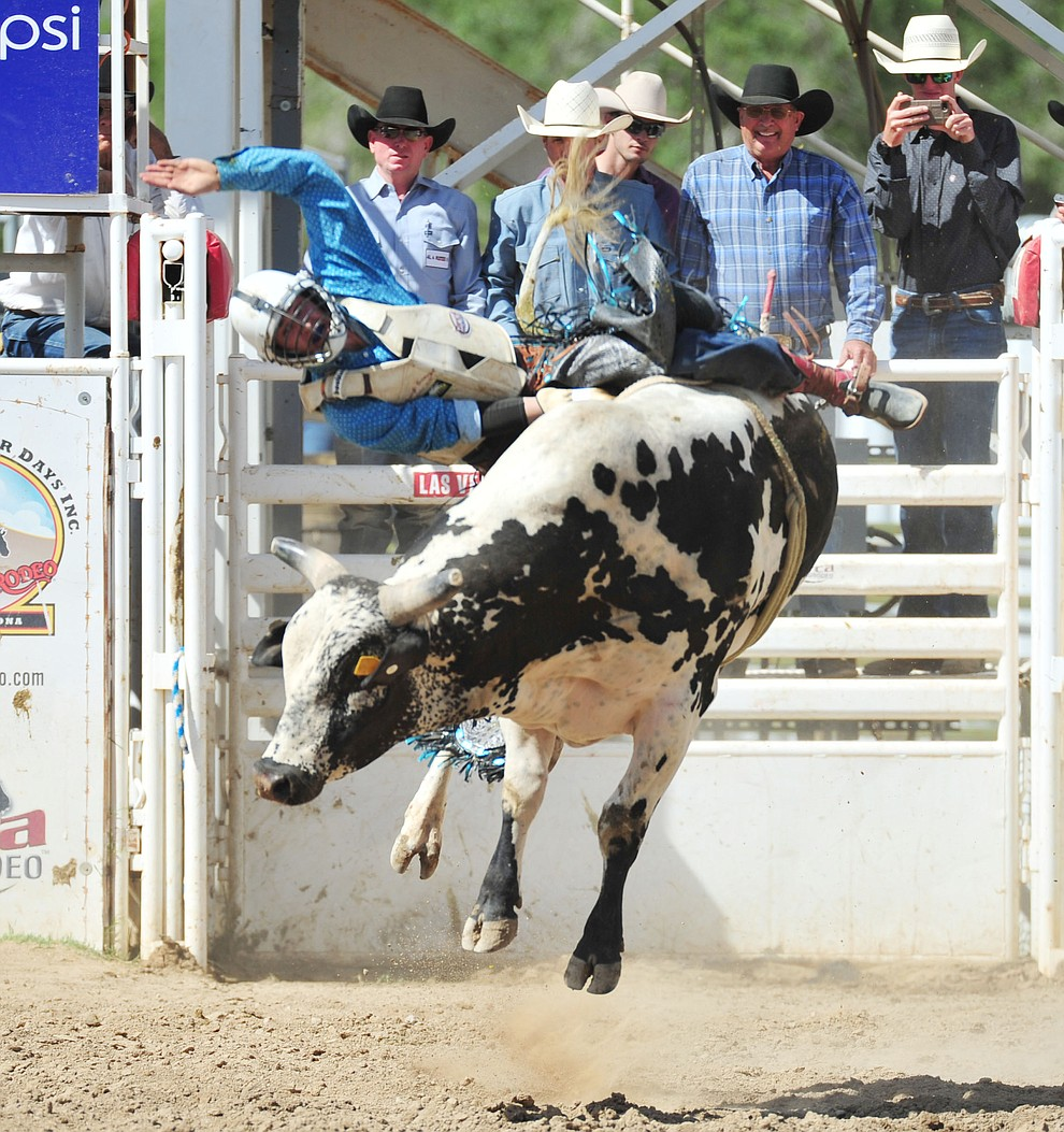 Garrett Remington on Nitro Fusion in the bull riding during the final performance of the 2018 Prescott Frontier Days Rodeo Wednesday, July 4, 2018. (Les Stukenberg/Courier)