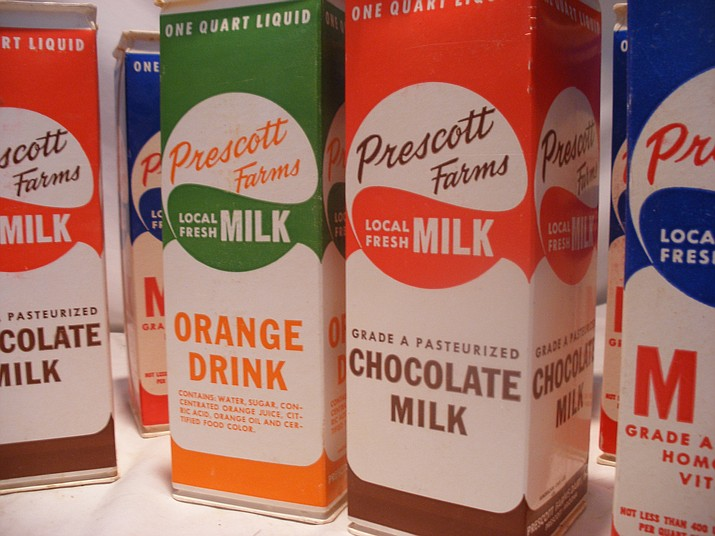 Some Prescott Farms milk cartons, up for auction at the Quality Antiques, Art & Firearms Auction at Batterman's Auction Saturday, July 7. (Jacques Laliberte/Courtesy)