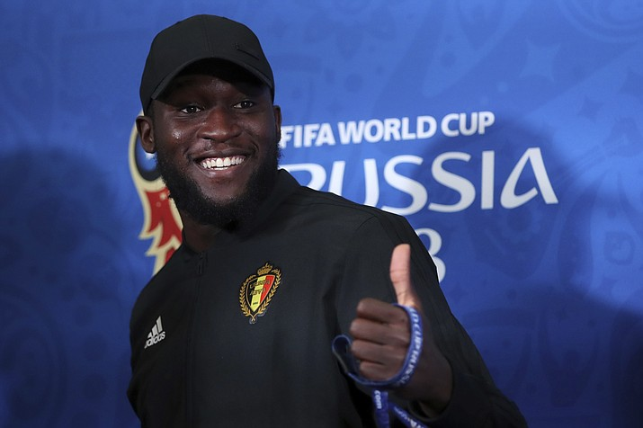 Belgium's Romelu Lukaku gives a thumps up to the journalists during the official press conference at the eve of their quarterfinal match against Brazil at the 2018 soccer World Cup in Kazan, Russia, Thursday, July 5, 2018. (AP Photo/Thanassis Stavrakis)