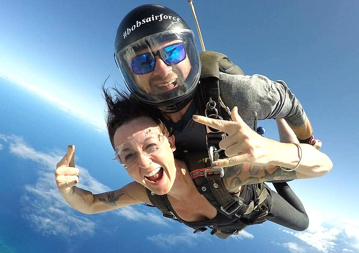 Rodney Boden engaging in one of his passions, skydiving, with wife, Stephanie.