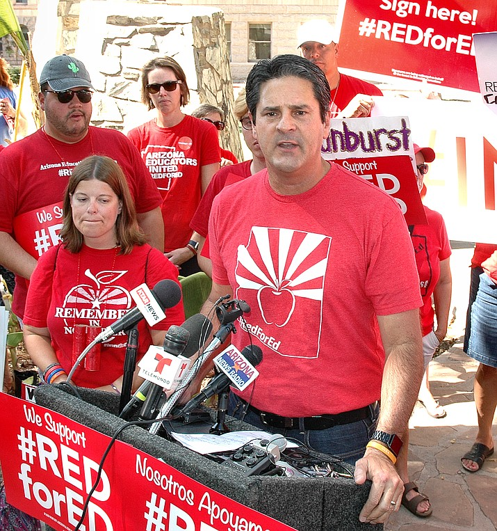 Arizona Education Association President Joe Thomas explained Thursday why teachers and their allies decided the best way to get new money into the classroom was a tax on the richest Arizonans. (Howard Fischer/Courtesy)