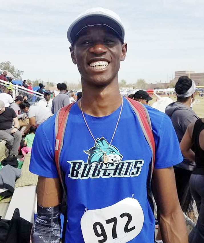 Bradshaw Mountain track and field standout Charles Nnantah, seen here in his Arizona Bobcats club team uniform, will run at USA Track & Field's Region 10 Junior Olympic Championship today and Sunday, July 7-8, in Aurora, Colorado. (Jason Shaver/Courtesy)