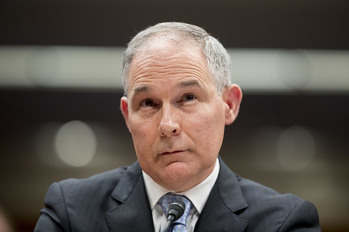 In this May 16, 2018, file photo, Environmental Protection Agency Administrator Scott Pruitt appears before a Senate Appropriations subcommittee on the Interior, Environment, and Related Agencies on budget on Capitol Hill in Washington. President Trump tweeted Thursday, July 5, he accepted the resignation of Pruitt. (AP Photo/Andrew Harnik, File)