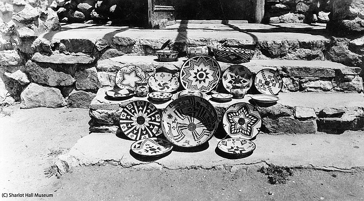 Yavapai Indian baskets on the steps at Smoki Museum, Prescott, Arizona, c. 1940 (Call #1512.2110.0005 (IN-Y-2110pe)/Sharlot Hall Museum/Courtesy)